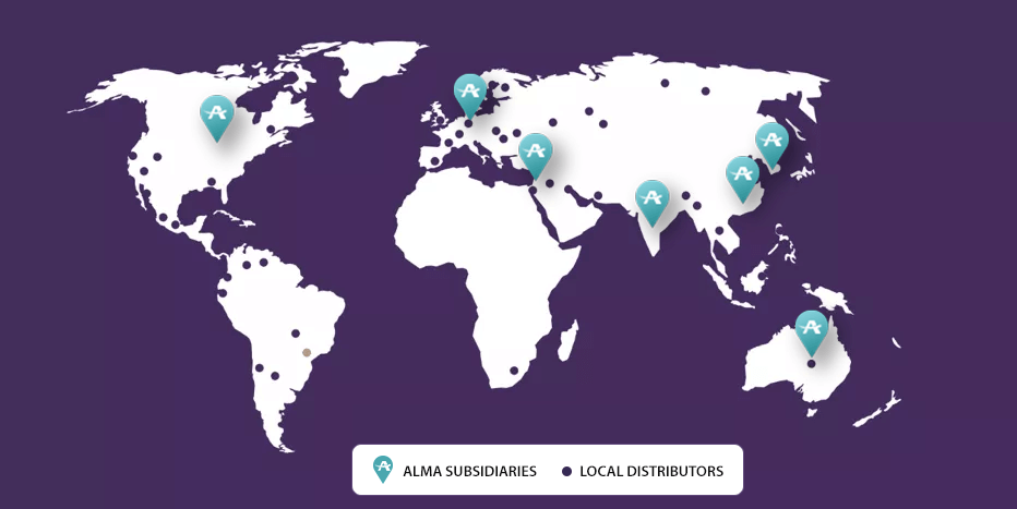 Alma's Global presence map
